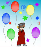 Graduation celebration. Girl at graduation celebration or party - vector Stock Photos