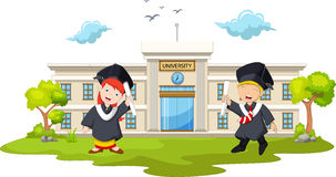 Graduation celebration with background building campus Royalty Free Stock Photo