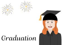Graduation celebration card with girl in black gown. And hat Stock Photos