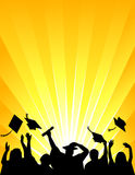 Graduation Celebration/eps. Illustration of a group of graduates tossing their caps in celebration of graduation Stock Image