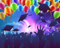 Graduation Celebration Party. Graduation convocation crowd concept of student hands in silhouette throwing their mortar board caps celebrating with abstract Stock Photos