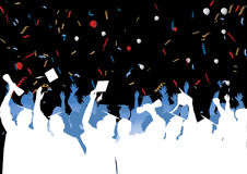 Graduation celebration in silhouette Royalty Free Stock Photo