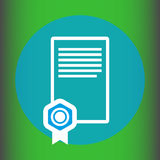 Graduation certificate icon. Certificate with Medal of Merit Royalty Free Stock Images