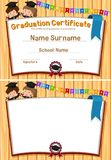 Graduation certification template with happy students. Illustration Stock Photography