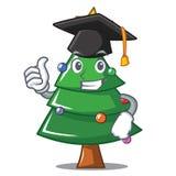 Graduation Christmas tree character cartoon. Vector illustration Stock Images