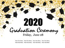 Free Graduation Class Ceremony Of 2020 Greeting Cards Set With Gold Confetti. Vector Grad Party Invitation Poster Stock Images - 182276854