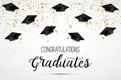 Graduation class of 2018. Congratulations graduates. Academic hats, confetti and balloons. Celebration. . Graduation class of 2018. Congratulations graduates Vector Illustration