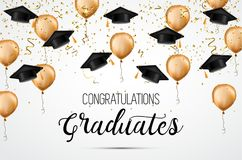 Graduation class of 2018. Congratulations graduates. Academic hats, confetti and balloons. Celebration. . Graduation class of 2018. Congratulations graduates Stock Illustration