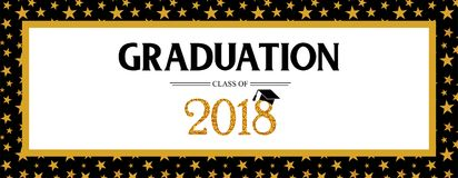 Graduation Class of 2018 greeting banner template. Vector party invitation banner. Grad poster. Graduation Class of 2018 greeting card and invitation template royalty free illustration