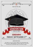 Graduation Class of 2019 greeting card or invitation design with flying hats and decorative elements. Congratulations graduates stock illustration