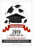 Graduation Class of 2019 greeting card or invitation design with flying hats and decorative elements. Congratulations graduates vector illustration