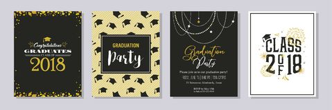 Graduation Class of 2018 greeting card and invitation template set. Vector party invitation. Grad poster. Graduation Class of 2018 greeting card and invitation Stock Photos
