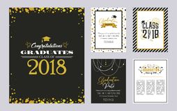 Graduation Class of 2018 greeting card and invitation template set. Vector party invitation. Grad poster. Graduation Class of 2018 greeting card and invitation vector illustration