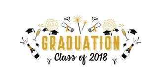 Graduation Class of 2018 greeting card and invitation template. Vector party invitation. Grad poster. Vector illustration stock illustration