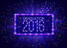 Graduation 2016 class of, luxury design for the graduation party poster, flyer. Vintage lighting banner illustration. Shining retro frame in blue color royalty free illustration