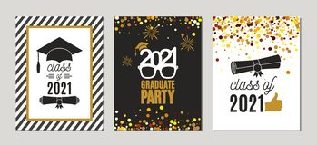 Free Graduation Class Of 2021 Golden Greeting Cards Set. Three Vector Party Invitation Templates. Grad Posters. All Isolated And Royalty Free Stock Photos - 217159858