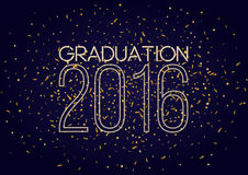 Graduation 2016 class of, shining luxury design. For the graduation party poster, flyer. Vintage neon banner with flying confetti illustration royalty free illustration