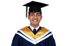 Graduation with clipping path. Young Indian graduation picture isolated with clipping path Royalty Free Stock Image