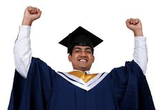 Graduation with clipping path. Young Indian graduation picture isolated with clipping path Stock Photography