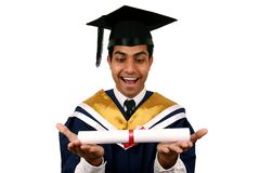 Graduation with clipping path. Young Indian graduation picture isolated with clipping path Royalty Free Stock Photos