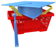 Graduation college school shopping basket Royalty Free Stock Photos