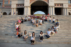When graduation comes. Students from Bohai University were taking a group picture of themselves before graduation. Jinzhou, northeast China Stock Photography