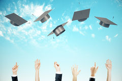 Graduation concept clear sky background Royalty Free Stock Image