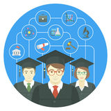 Graduation Concept. Conceptual flat vector illustration of the group of college, institute or university graduates, with icons of various sciences Royalty Free Stock Photo