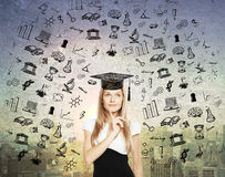 Graduation concept with thoughtful businesswoman Stock Photos
