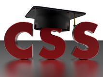 Graduation in CSS concept. 3D render illustration of the concept of finishing a CSS training course. The composition is isolated on a white background with a Stock Photo