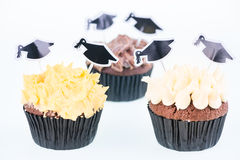Graduation cupcakes with mortar board cake picks Stock Image