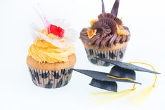 Graduation cupcakes with mortar board close-up Royalty Free Stock Images