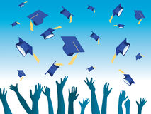 Graduation day. Vector illustration of hands throwing graduation hats Royalty Free Stock Images