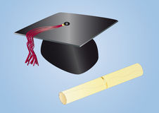 Graduation day. Graduation hat and diploma on light background Royalty Free Stock Images