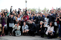 GRADUATION DAY. LCC university students celebrating their graduation day in Klaipeda, Lithuania Royalty Free Stock Photo