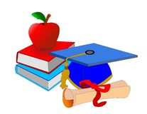 Graduation Day. Symbols of our school days with cap,certifacate,books and an apple for the teacher Stock Photo