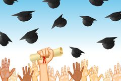 Graduation Day. Illustration of graduates tossing mortar board in air Stock Image