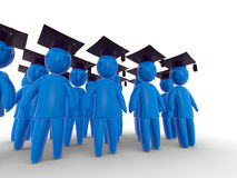 Graduation day. Crowd of abstract blue figures wearing graduate's cap. Concept of celebration and graduation Stock Photos