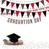 Graduation Day background EPS 10 vector. Royalty free stock illustration for greeting card, ad, promotion, poster, flier, blog, article, social media or Royalty Free Stock Photography