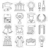 Graduation Day Ceremony Thin Line Icons. Graduation outline vector icon set of celebration elements. Man and woman graduate in hats and celebrating education Stock Image