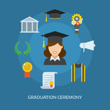 Graduation Day Certification Ceremony Vector Icons. Graduation day concept with celebration cartoon elements. Happy student girl with icons of school, wreath Royalty Free Stock Photo