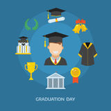 Graduation Day Certification Ceremony Vector Icons. Graduation day concept with celebration cartoon elements. Happy student guy with icons of school, wreath Royalty Free Stock Images