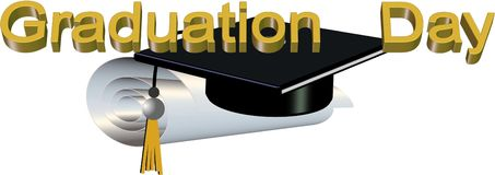 Graduation day  illustration. 3d illustration for graduation day with scroll and hat on white Royalty Free Stock Photography