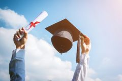 Graduation day, Images of graduates are celebrating graduation p Stock Photos