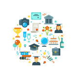 Graduation day and learning vector concept with graduate party icons. Graduation university and illustration of graduation college Stock Photography