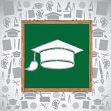 Graduation day. Over pattern background vector illustration Royalty Free Stock Image