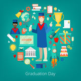 Graduation Day Party Icons Set with Happy Student, Certificate and Diploma. Vector illustration Stock Image