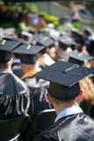 Graduation Day!. Students at an outdoor university commencement ceremony. The image orientation is vertical and there is copy space Royalty Free Stock Images
