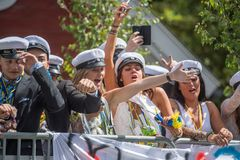 Graduation day in Sweden. Norrkoping, Sweden - June 15, 2018: Graduation day from gymnasium in the city center of Norrkoping. Students celebrating and parading Stock Image