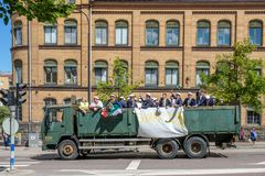 Graduation day in Sweden. Norrkoping, Sweden - June 15, 2018: Graduation day from gymnasium in the city center of Norrkoping. Students celebrating and parading Stock Photography